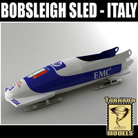 3d model bobsleigh sled - italy