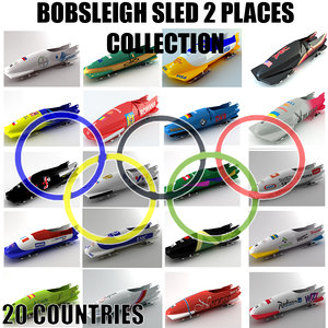 3d model bobsleigh sled 2 places