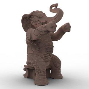 hollywood elephant statues obj