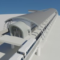 metro railway station train rail 3d max