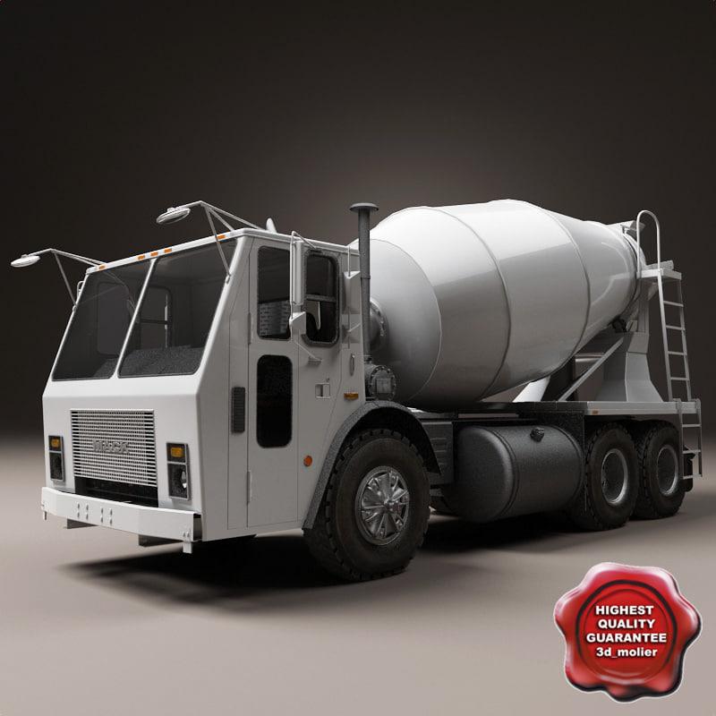 3d model of realistic mixer truck mack