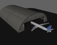 3d model of airplane hangar