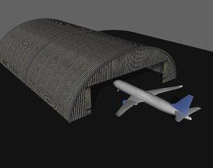 3d model of airplane hangar