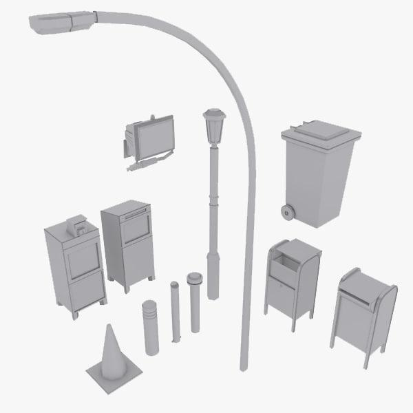 3d street elements model