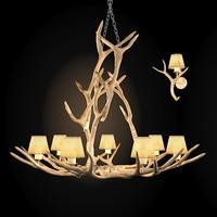 3dsmax deer horn chandelier