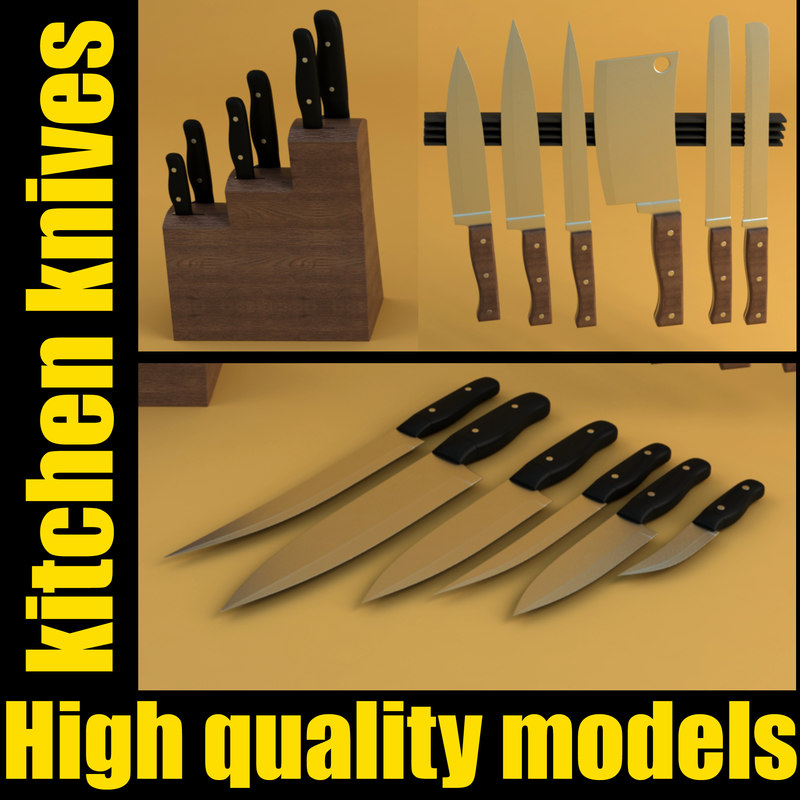 set kitchen knives 3d model