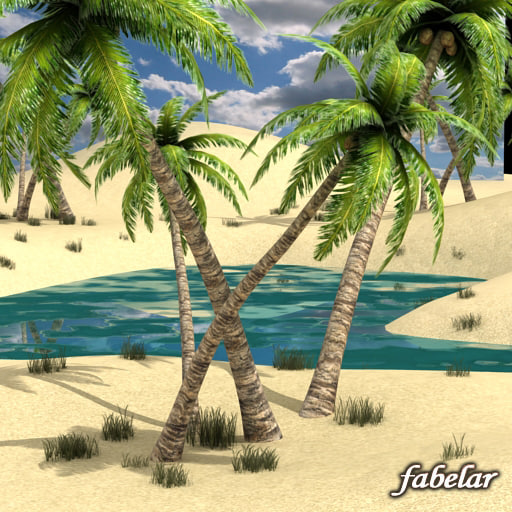 realistic oasis 3d max