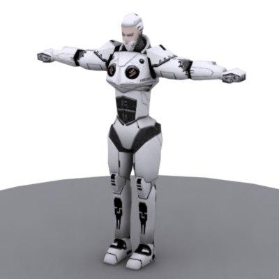 free cyborg polys 3d model