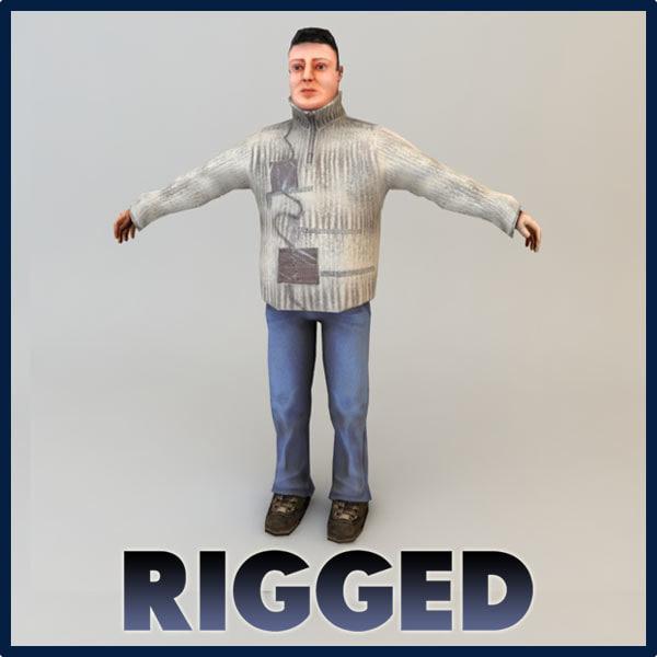 3d max civilian character rigged -man-