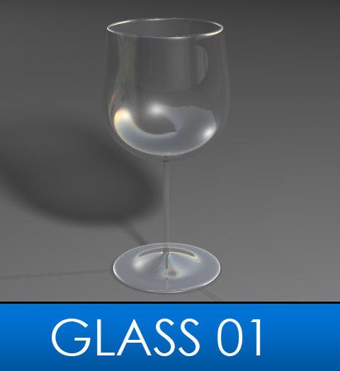 3d model elegant wine glass