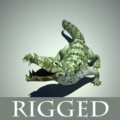 3d alligator crocodile rigged version