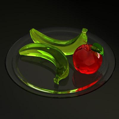 glass bananas apple 3d model