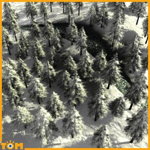 3d model of winter scene trees