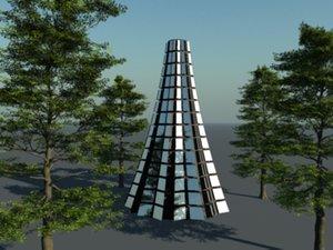 3d building glass model