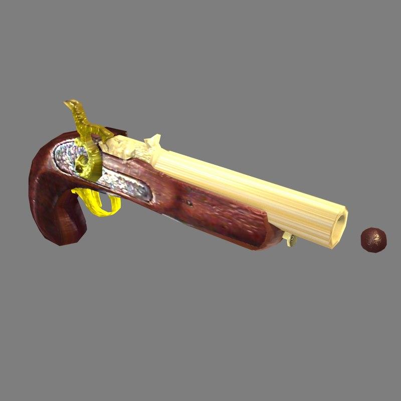 3d flintlock pistol model