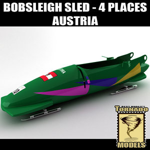 3d model bobsleigh sled 4 places