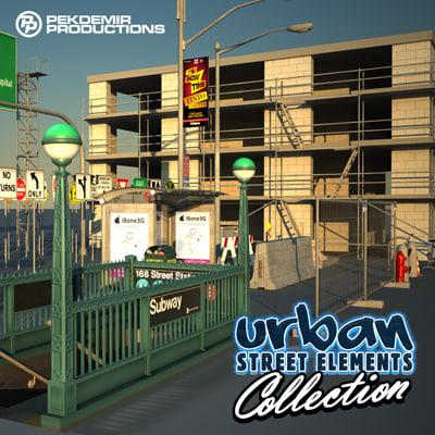 urban street elements 3d model