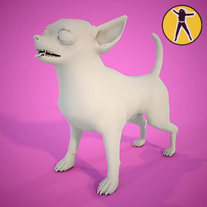 chihuahua dog animation 3d model