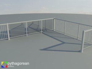 3d set modular railings model