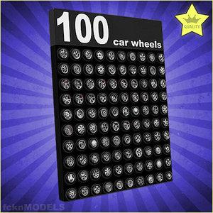 3d model 100 car wheels