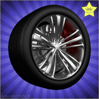 3d model 100 car wheels