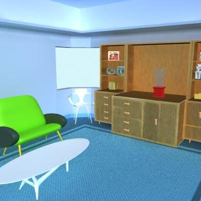 3d model studio loft chair table