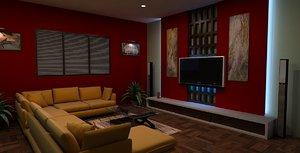 3ds max lounge room interior