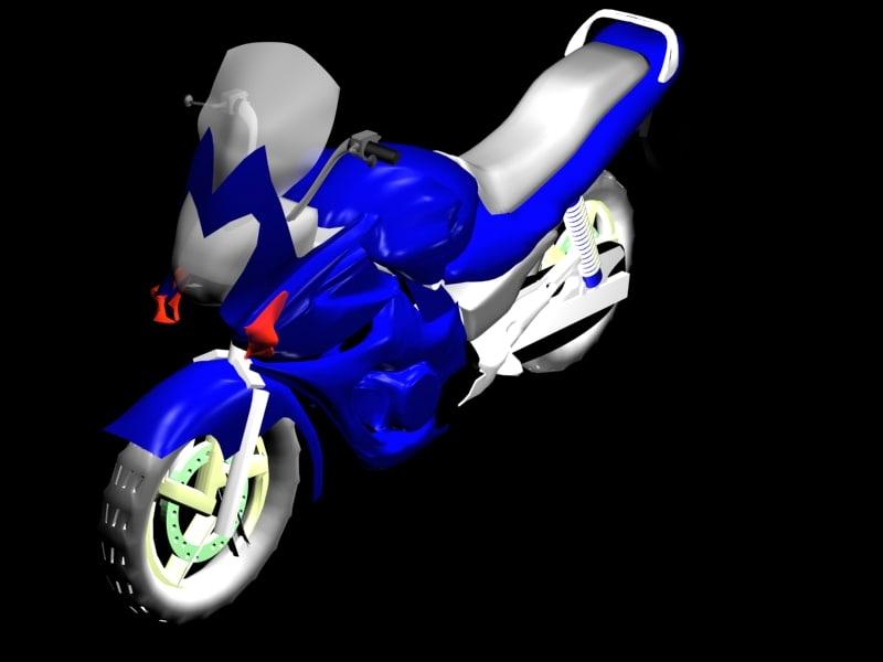 sports bike blue 3d max