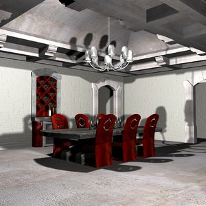 modern dinning room 3d max