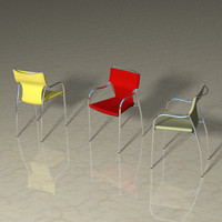 leather chrome dining chair 3d lwo