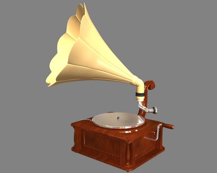 old gramaphone 3d max