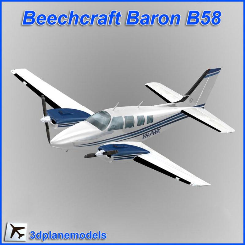 beechcraft baron b58 private 3d model