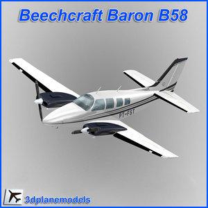 3dsmax beechcraft baron b58 private