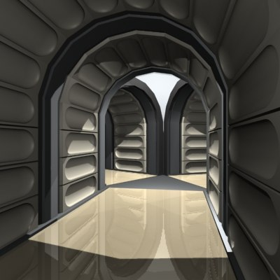 science fiction hallway corridor 3d 3ds