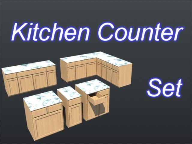 3d set drawers cabinets model