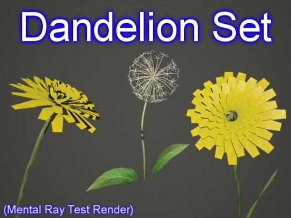 set dandelion 3d model