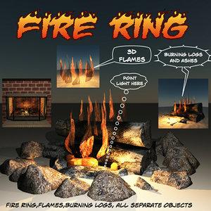 3d model ring flames burning