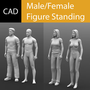 3dm cad male standing female reference