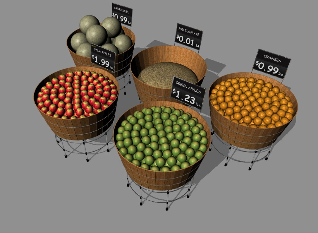3d model produce fruit baskets