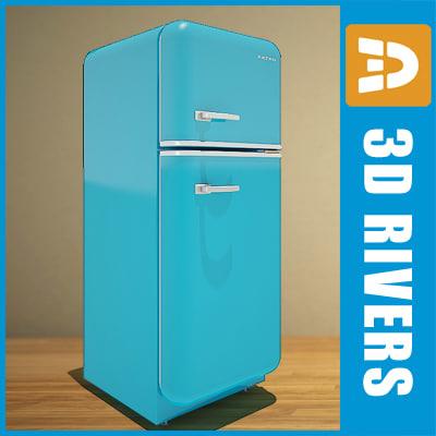 retro fridge 3d model