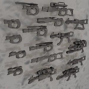 blender scifi guns