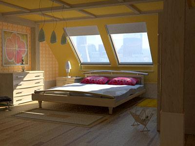 3d bedroom garret floor interiors