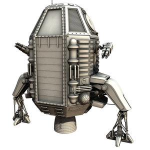 3d capsule sci-fi model