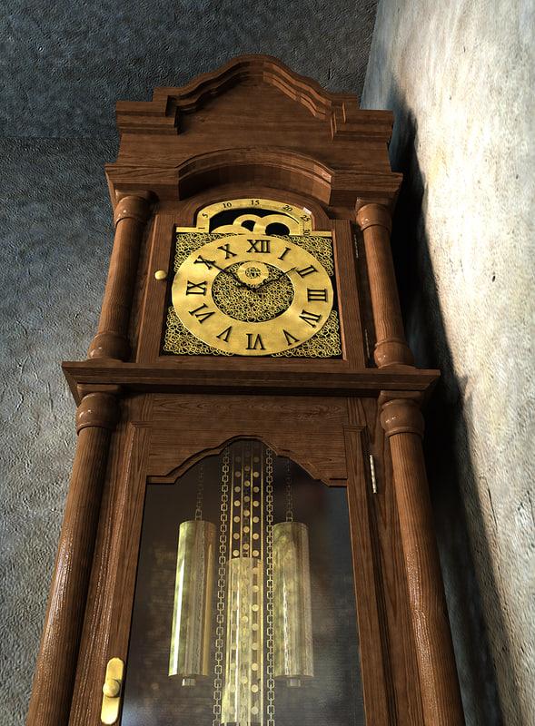 grandfather clock 3d ma