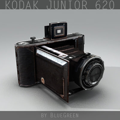 kodak junior 620 vintage camera 3d model