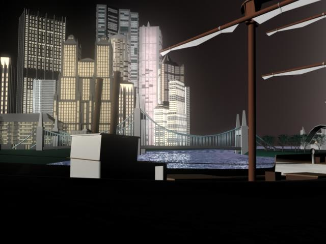 3d model resort island skyscrapers