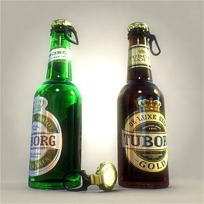 tuborg bottles 3d model