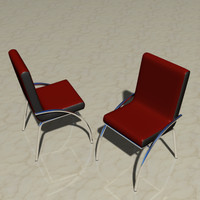 3d model chrome leather dining chair
