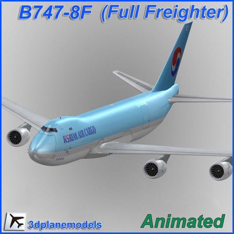 3d model b747-8 korean air cargo