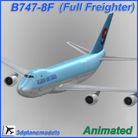 3d model b747-8 korean air cargo